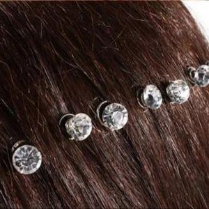 10 Clear Crystal Hair Clips/Buckles NWT